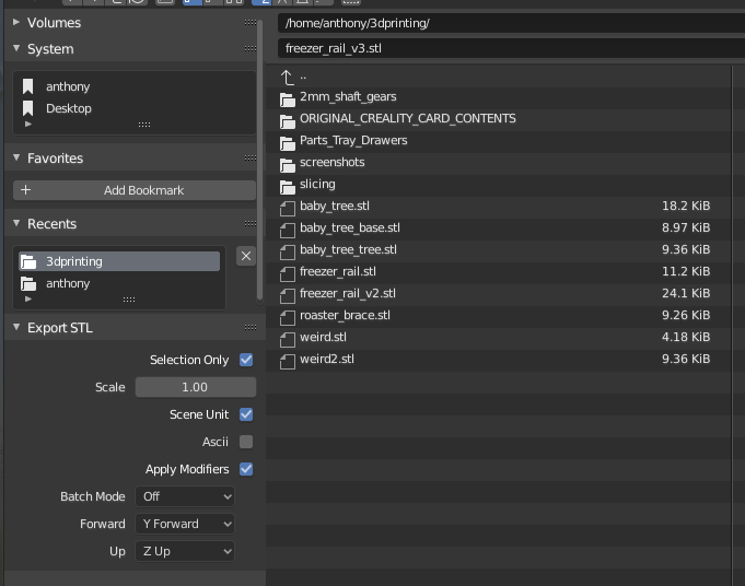 Exporting an STL from Blender.
